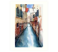 Canal and Washing Line, Venice Art Print