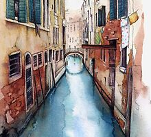 Canal and Washing Line, Venice by Helen Lush