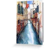 Canal and Washing Line, Venice Greeting Card