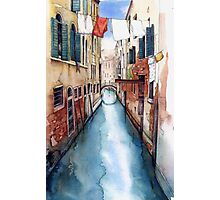 Canal and Washing Line, Venice Photographic Print