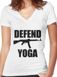 DEFEND YOGA Women's Fitted V-Neck T-Shirt