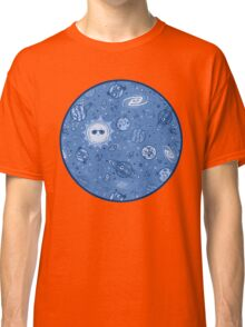 Cartoon Space Pattern - Blue Classic T-Shirt