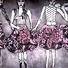 Dancing Girls - Edition 1 Drypoint Etching by Belinda &quot;BillyLee&quot; NYE (Printmaker)