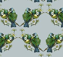 Tit Birds, Branches, Flowers - Green Blue Yellow by sitnica