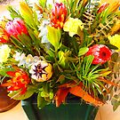 Floral arrangement in foyer of Whittlesea Agricultural Society Building VIC Australia by Margaret Morgan (Watkins)