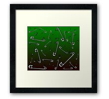 Safety Pin Skulls Design Green Framed Print