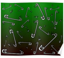 Safety Pin Skulls Design Green Poster