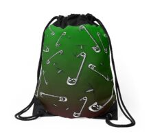 Safety Pin Skulls Design Green Drawstring Bag
