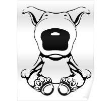 English Bull Terrier Sit Design Poster