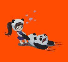 Funny child harasses panda  Kids Clothes