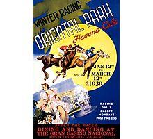 Havana Horse Racing Vintage Travel Poster Restored Photographic Print