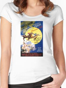 Havana Horse Racing Vintage Travel Poster Restored Women's Fitted Scoop T-Shirt