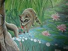 Fairy feeding Raccoon  by Wendy Crouch