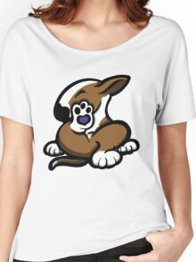 English Bull Terrier Kicking Back Brown and White  Women's Relaxed Fit T-Shirt