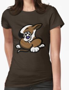 English Bull Terrier Kicking Back Brown and White  Womens Fitted T-Shirt