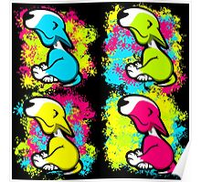 Colour Splash Innocent English Bull Terrier Puppies Poster