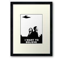 MULDER & SCULLY - I WANT TO BELIEVE Framed Print