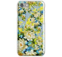 Flowers, Petals, Leaves, Blossoms - Blue Yellow iPhone Case/Skin