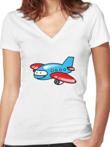 Funny blue airplane cartoon Women's Fitted V-Neck T-Shirt