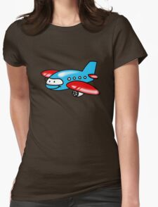 Funny blue airplane cartoon Womens Fitted T-Shirt