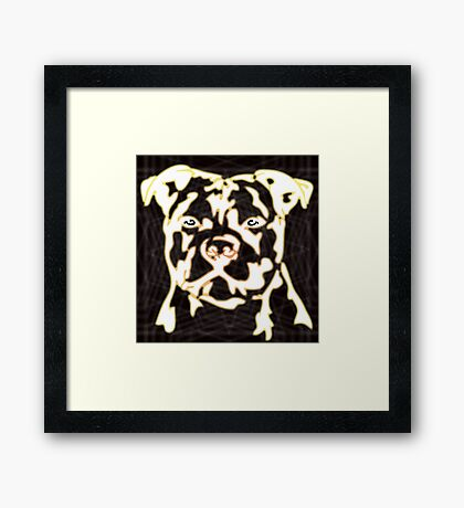 strong pitbul with illustration Framed Print