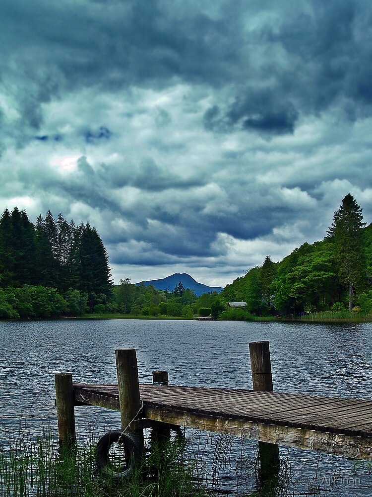 Jetty Over Loch Ard, Scotland. by Aj Finan