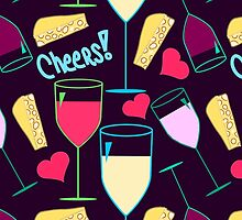 Wine, Cheese, Hearts, Cheers - Yellow Pink Purple by sitnica