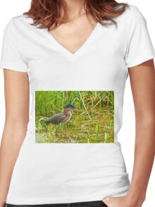 Green Heron Women's Fitted V-Neck T-Shirt