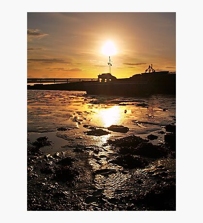 Sunset And Boat Over The River Forth,Scotland. Photographic Print