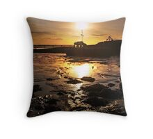 Sunset And Boat Over The River Forth,Scotland. Throw Pillow