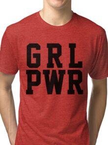 GRL PWR - Black Text Tri-blend T-Shirt