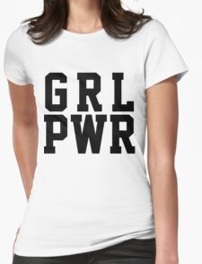 GRL PWR - Black Text Womens Fitted T-Shirt
