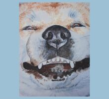 funny cute akita smiling realist dog portrait art Kids Tee