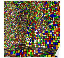 Fractal Colored Block illusion Poster