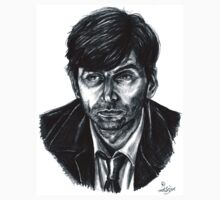 David Tennant as Broadchurch's Alec Hardy (or Gracepoint's Emmett Carver) (Graphite) Portrait  Baby Tee