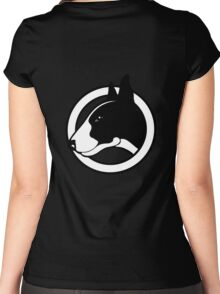 Black and White Bull Terrier Design  Women's Fitted Scoop T-Shirt