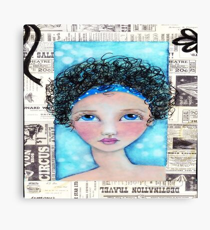 Whimiscal Girl with Curly Hair Canvas Print