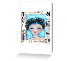 Whimiscal Girl with Curly Hair Greeting Card
