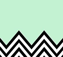 Zigzag, Chevron Pattern - Black, White, Mint Green by sitnica
