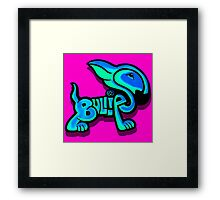 Bullies Letter Character Turquoise and Blue Framed Print