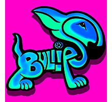 Bullies Letter Character Turquoise and Blue Photographic Print
