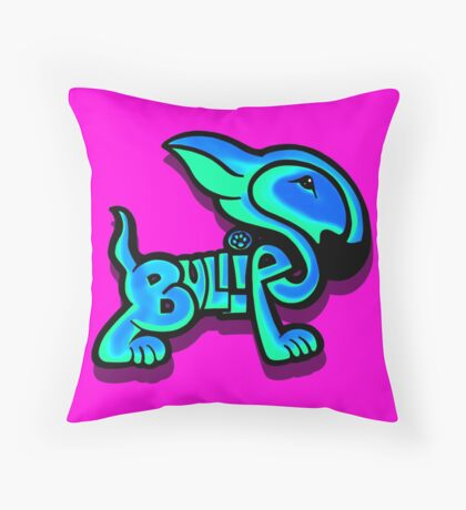 Bullies Letter Character Turquoise and Blue Throw Pillow