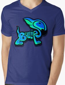 Bullies Letter Character Turquoise and Blue Mens V-Neck T-Shirt
