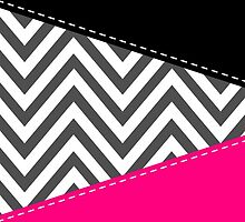 Zigzag Pattern, Chevron Pattern - Gray Pink Black by sitnica
