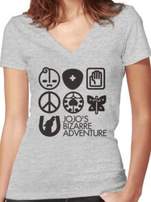 Jojo's Bizarre Adventure Symbols Women's Fitted V-Neck T-Shirt