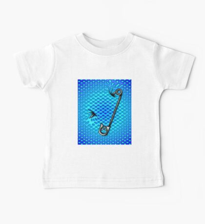 Skull Safety Pin Vest Blue and Turquoise  Baby Tee