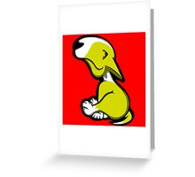 Innocent English Bull Terrier Puppy Yellow and White Greeting Card