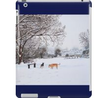 dog snow scene landscape with trees & rooftops art iPad Case/Skin