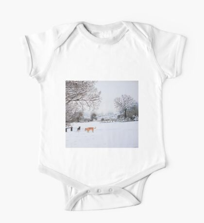 dog snow scene landscape with trees & rooftops art One Piece - Short Sleeve