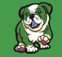 Happy Bulldog Puppy Green and White  Baby Tee